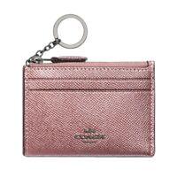NWT COACH Mini Skinny ID Case Card Coin Key Wallet Metallic Dark Blush F88250