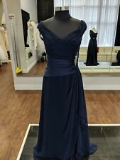 Long Navy Dress With Straps Chiffon With Satin Belt And Some Sparkle size 10