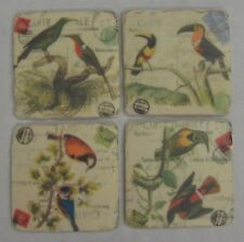 4 New Bird Design Drink Coasters French Provincial Country Style with Cork Back
