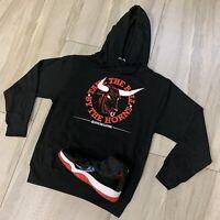 Hoodie to match Jordan Retro 11 Bred Sneakers. Horns Hoodie