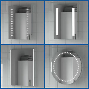Bathroom Mirror LED Illuminated Modern Rectangular Wall Mounted Battery Powered
