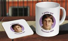 Louis Theroux Funny Ceramic Coffee MUG + Wooden Coaster Gift Set