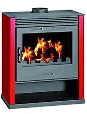 Stufe / Stufa a legna in acciaio Mod. Rubin colore rosso e antracite