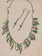 Beaded Crystal Bib Necklace & Pierced Earrings Set, Silver w/ Blue & Green tones