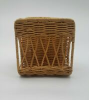 Tan Whicker Woven Double Sided Vintage Napkin Holder Retro MCM