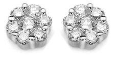 9Carat White Gold Diamond Daisy Cluster Earrings 0.25cts GSI diamond Hallmarked