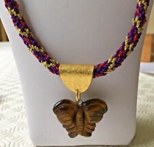 "Tigers Eye Carved Butterfly Pendant on 25.5"" Kumihimo Purple/Red/Gold Zari Cord"
