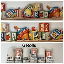 LOT 6 Roll Baby Blocks York Wallpaper Border Vintage Toys Nursery ABC's Alphabet