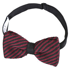 DQT Knit Knitted Geometric Diagonal Stripe Casual Classic Mens Pre-tied Bow Tie Black & Burgundy