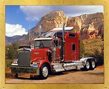 Maroon Kenworth Diesel Truck Transportation Wall Decor Framed Picture Art Print