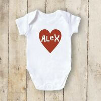 PERSONALISED BABY VEST GROW CHRISTENING BODYSUIT YOUR TEXT NEWBORN GIFT - HEART