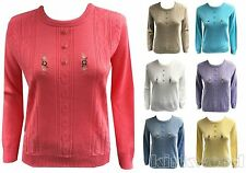 Women's Medium Knit Crew Neck None Acrylic Jumpers & Cardigans