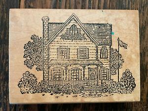 "VTG Hampton Art Stamps 1995 House Building w/ Flag 5.5"" x 4"""