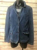 St Johns Bay Womens Size L Blue Denim Jean Jacket Med Wash Chic Boho Casual