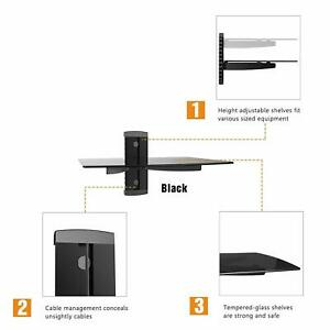 Black Floating Shelf with Strengthened Tempered Tempered Glass