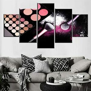 Makeup Brush Color Plate 5 Pieces Canvas Wall Printed Picture Poster Home Decor