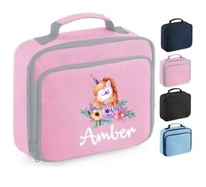 Personalised School Lunch Bag, Pink Flowers Unicorn + Name, Choice of Colour,107