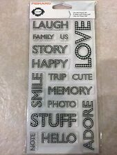 Clear Acrylic Stamp Set by Fiskars Stamps Journaling Words Family 103610-1001