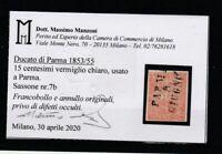 FRANCOBOLLI - 1853/55 PARMA C.15 VERMIGLIO CHIARO E/3866