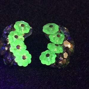 Vintage Uranium Glass And Aurora Borealis Clip On Earrings