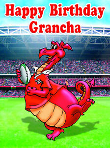 PERSONALISED WELSH RUGBY PLAYER -Humourous- GREETING CARD ANY RELATION - NX5
