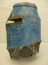 Medieval Style Battle Warrior Jousting Helmet Blue + Stand Chainmail Metal Mesh
