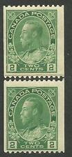 Canada 133i, 2c Admiral.  Coil pasteup pair singles.  F NH Poorly placed reinfor