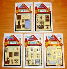 Miniature Dollhouse 5 Room Sets of Plastic Furniture 1/4 or 1/48 scale Tiny Lot