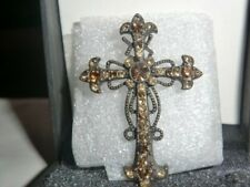 Cross With Bronze Gemstones Lovely Large Art Deco Style