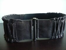 Elastic Belt NEW YORK and COMPANY Black Non-Leather Gathered Metallic S/M