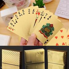 24K GOLD PLATED PLAYING CARDS FULL POKER DECK 99.9% PURE CHRISTMAS GIFT 2018 new