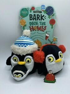 BARK Deck The Howls Christmas Dog Toy 3Toys In 1 Squeaker Tennis Ball  Penguins