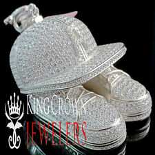 10K White Gold Silver Baseball Cap Hat Pendant Simu Diamond Sports Shoes Charm