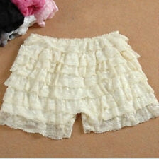 Women Bloomer Shorts Safety Pants Stretch Knicher Lace Ruffle Panties Underpants