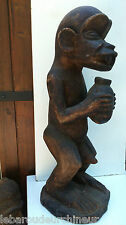 ancienne Statue africaine.old  African statue Singe mendiant BAOULE