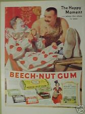 1937 Beech-Nut Gum Candy Circus Clowns Color Art AD