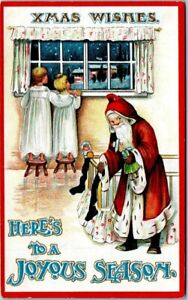 1909 Holiday Postcard - Santa Claus with Children Looking Out Window - Posted