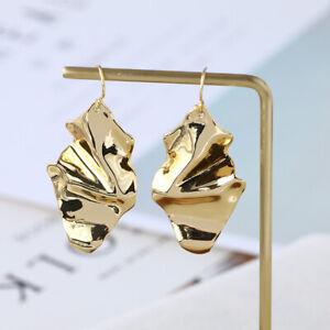 Alexis Bittar Gold/Sliver Crumpled Metal Dangle Post Drop Earrings