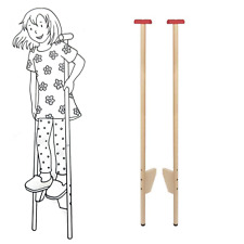 Childrens Stilts Kids GOKI Wooden Adjustable Poles Novelty Gift Outdoor Fun