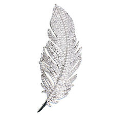 High Quality Cubic Zirconia Feather Brooch Broach Pin Pendant Dress Jewelry