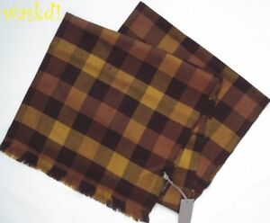 """TOM FORD cashmere silk BROWN/YELLOW Signature CHECK 28x78"""" XLarge Scarf NWT Auth"""