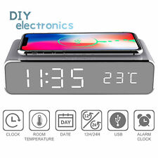 Led Electric Alarm Clock Digital Thermometer Clock Hd Mirror Wireless Charger Us