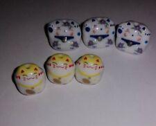 6 Japanese Porcelain Lucky Cat Beads