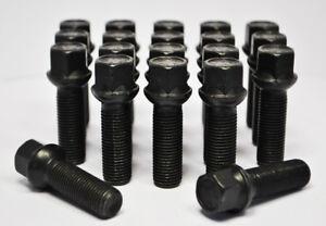 20 x Audi M14 x 1.5, 35mm Thread, Radius Wheel Bolts (Black)