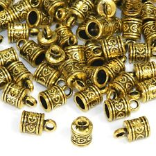 MX5209 Antiqued Gold 16mm Cord End Cap with Loop 6.5mm Inside Diameter 48pc