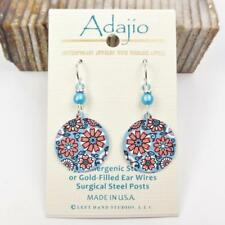 Adajio Earrings Sterling Silver Hook Blue and Coral Retro Floral Disc Handmade
