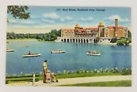 Postcard Linen Boat House Humboldt Park Chicago Illinois