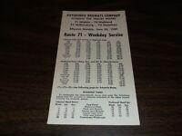 JUNE 1959 PITTSBURGH RAILWAYS ROUTES 71/73/75/76 PUBLIC TIMETABLE