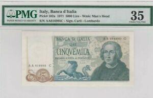 1971 ITALY 5000 lire PMG35 VF First Prefix AA @ P-102a