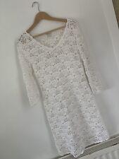 Rare Monsoon White Lace Crochet Dress Size 12 Bridesmaid Knee Length